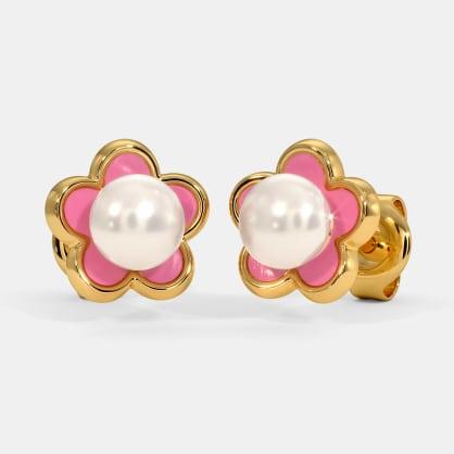The Pink Flower Kids Stud Earrings