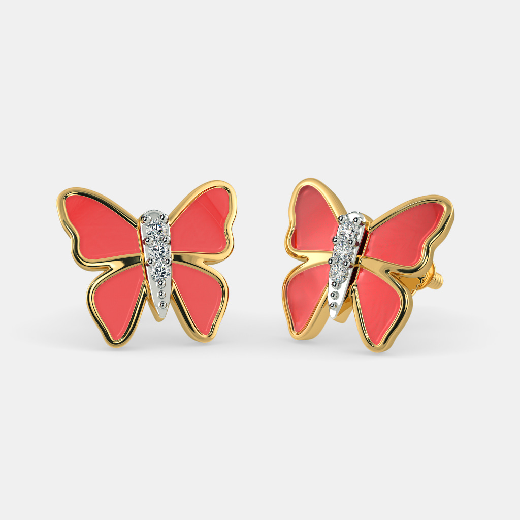 b00049688 The Red Butterfly Earrings for Kids | BlueStone.com