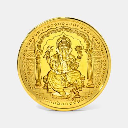 1 gram 24 KT Ganesh Gold Coin