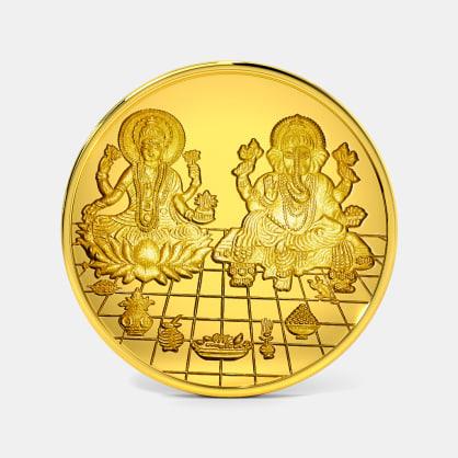 2 gram 24 KT Lakshmi Ganesh Gold Coin