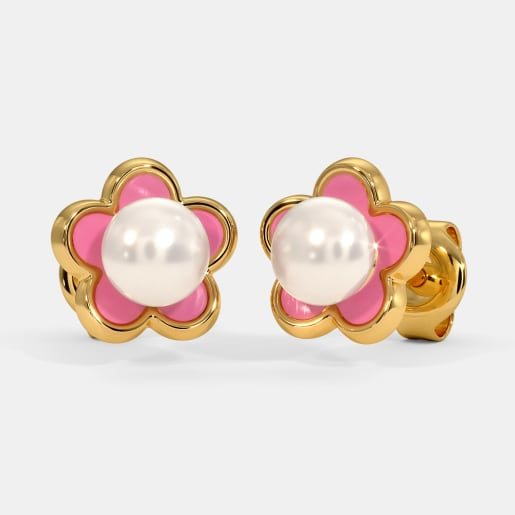 The Pink Flower Kids Stud Earrings
